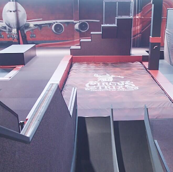 bagjump trampoline park airbag foam pit circus trix