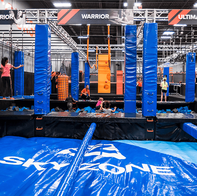 skyzone ninja warrior course airbag