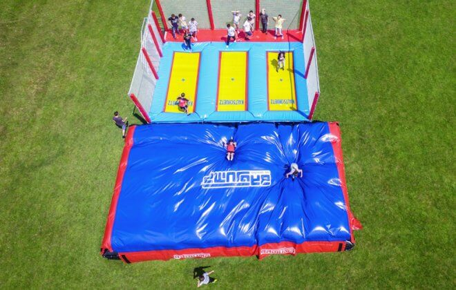three-lane trampoline airbag station Bagjump