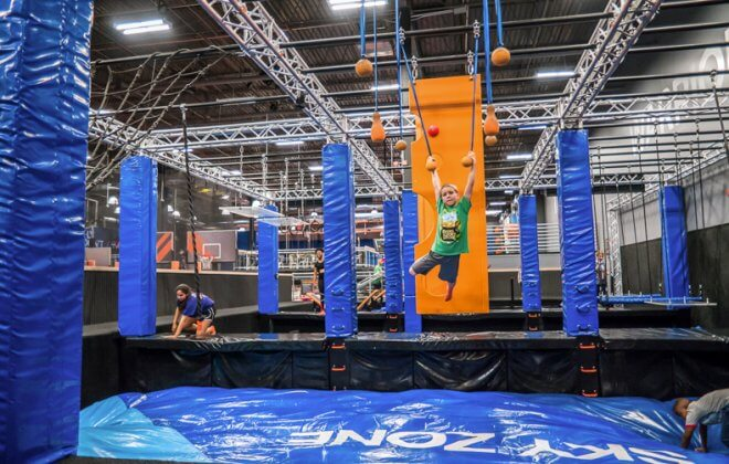 ultimate ninja warrior course bagjump airbag walltopia skyzone