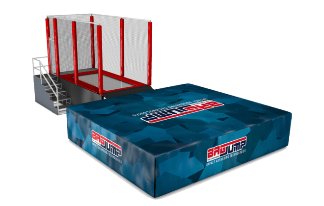one-lane trampoline station airbag