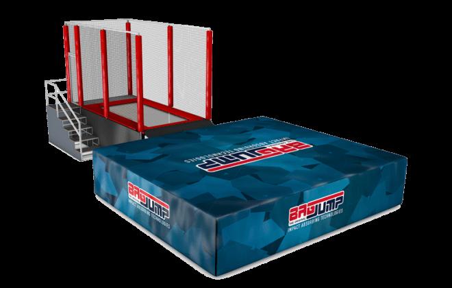 one-lane trampoline station airbag