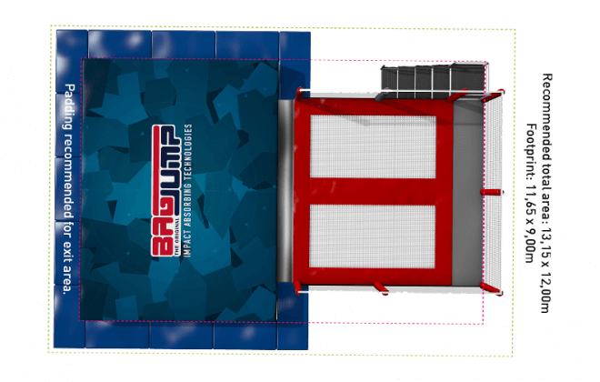 two-lane bird view trampoline station airbag