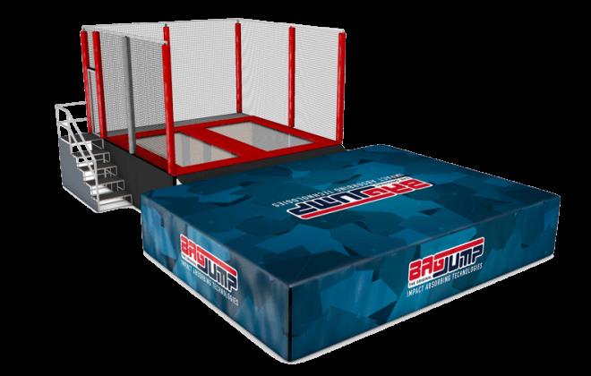 two-lane trampoline station airbag
