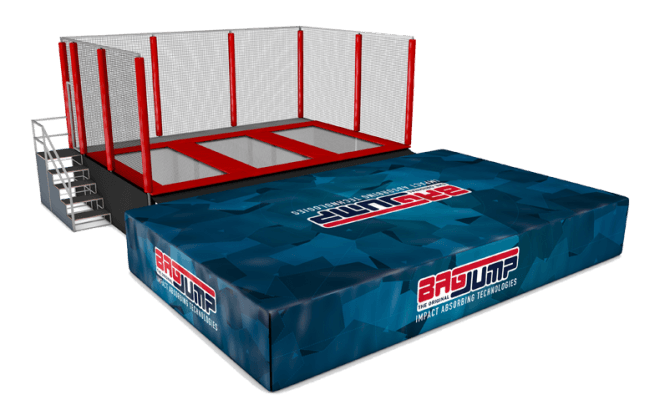 three-lane trampoline station airbag
