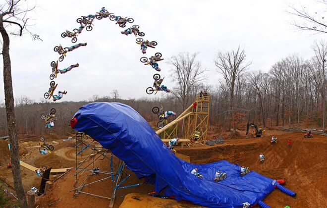 Bagjump Landing airbag at Pastrana Land. Triple backflip with a FMX bike