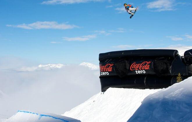 bagjump snowboard ski airbag jump airbag coca cola