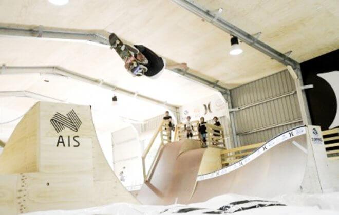 Skateboarding halfpipe Bagjump airbag