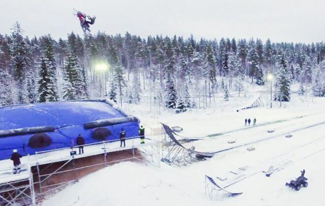 Daniel Bodin double backflip snowmobile Bagjump airbag