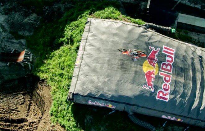 fmx levi sherwood doubleflip on a bagjump landing airbag
