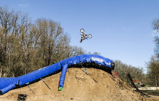 FMX Backflip on the Bagjump Landing airbag