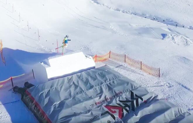 Bagjump snowboard ski airbag at ischgl austria
