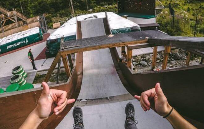 Bagjump airbag für adventure parks. Jump and Slide Saalbach Hinterglemm
