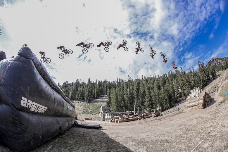 monster energy bike backflip mammoth mountain bagjump airbag