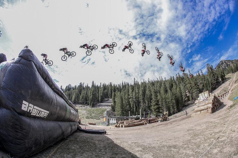 monster energy bike backflip mammoth mountain bagjump airbag