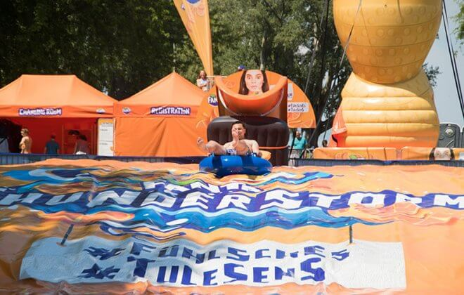 Waterslide Fun at Bodensee. Add a Bagjump foam pit standalone airbag for your waterslide